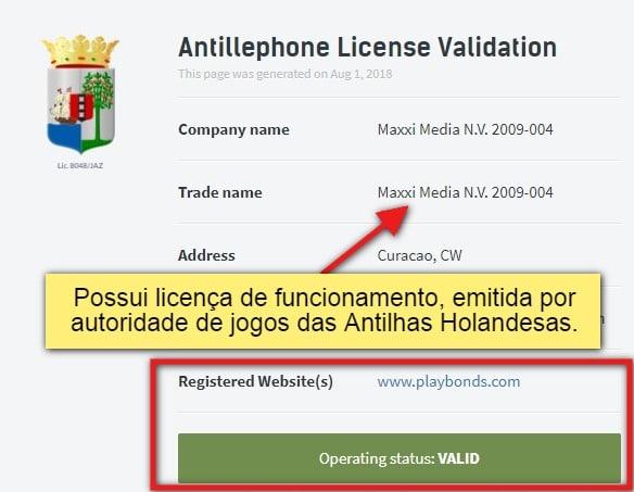 Licença Curaçao playbonds video 53874