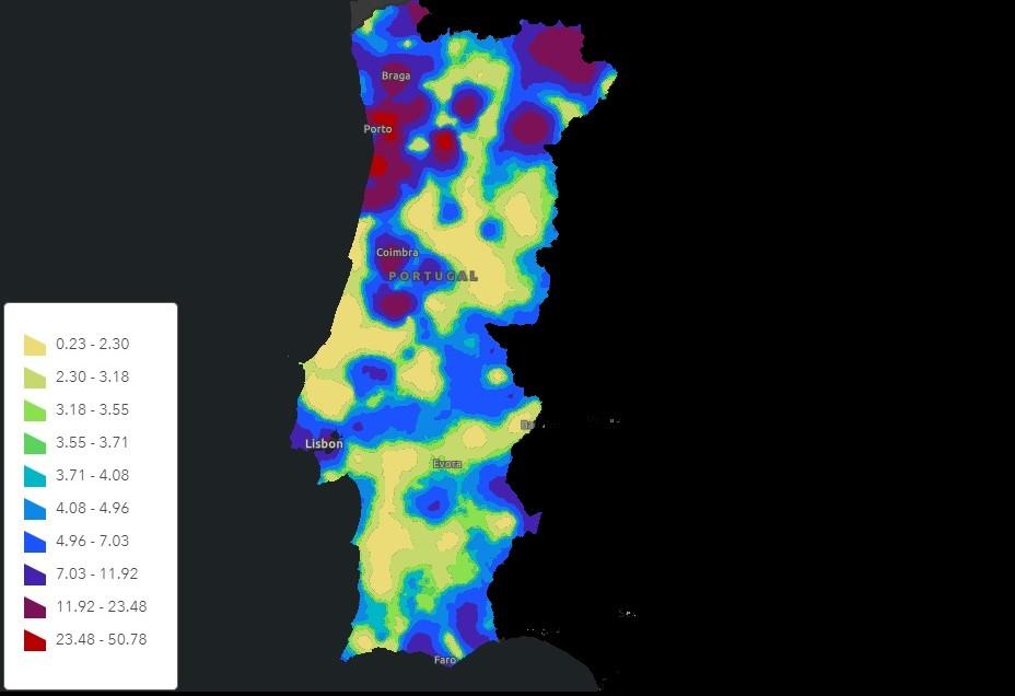 Calculo probabilidade Portugal mapa 25643